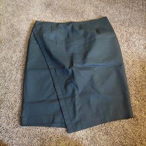Lane Bryant black faux wrap midi skirt